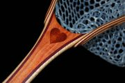 Custom Fly Fishing Net - Carob w/Bloodwood heart inlay. The hoop is Curly Maple & Purpleheart