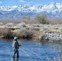 Steve Ebersold wetting a line on the Owens River with his Sierra Net properly stowed.